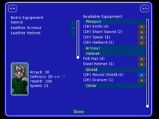 Equipment Screen