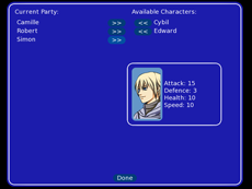 Party Screen